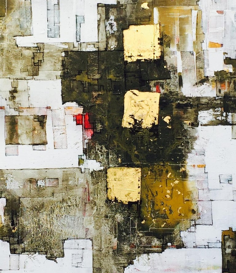 Important Style - 21st Century, Contemporary, Abstract Painting, Gold Leaf For Sale 2