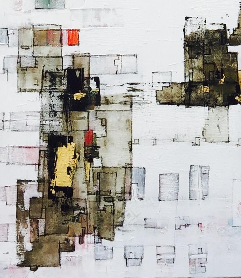Important Style - 21st Century, Contemporary, Abstract Painting, Gold Leaf For Sale 4
