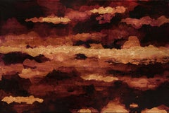 Chiaroscuro Sky - 21st Century, Contemporary, Abstract Painting, Gold Leaf