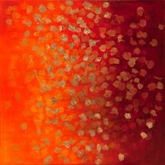 Falling Golden Leaves - 21st Century, Contemporary, Abstract Painting, Gold Leaf