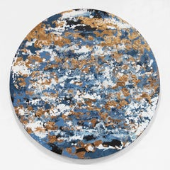 Pale Meridian - 21st Century, Contemporary, Abstract Painting, Gold Leaf, Steel