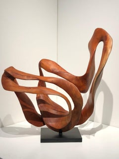 Equilibri - 21st Century, Contemporary, Abstract Sculpture, Mahogany Wood, Root