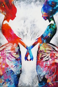 The Paradox Of Two Souls Entwined - 21st Cent, Contemporary Painting, Women
