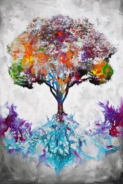 Nourished From The Roots - 21st Century, Contemporary Painting, Tree, Graffiti