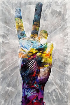 Bring Peace To The Party - 21st Century, Contemporary Painting, Hand, Graffiti