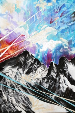Towering Over Giants - 21st Century, Contemporary Painting, Mountain, Graffiti