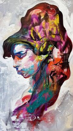 Amy - 21st Century, Contemporary Painting, Portrait, Amy Winehouse, Graffiti