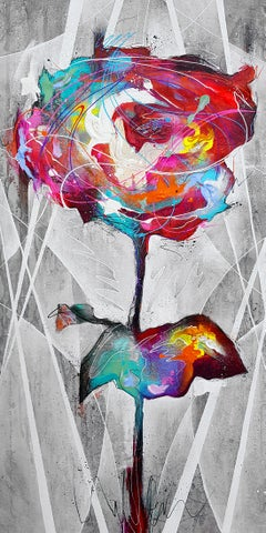 Rose - 21st Century, Contemporary Painting, Graffiti, Flower, Mixed Media