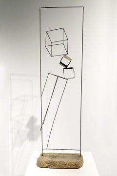 Juego De Cubos - 21st Century, Contemporary Art, Abstract, Iron Sculpture, Brick