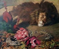 León Dormido - 21st Century, Contemporary, Figurative Painting, Oil, Canvas