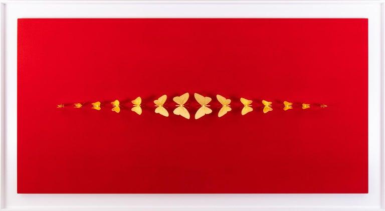 Metamorphosis Red II - 21st Century, Contemporary Figurative, Golden Butterflies - Mixed Media Art by Samuel Dejong