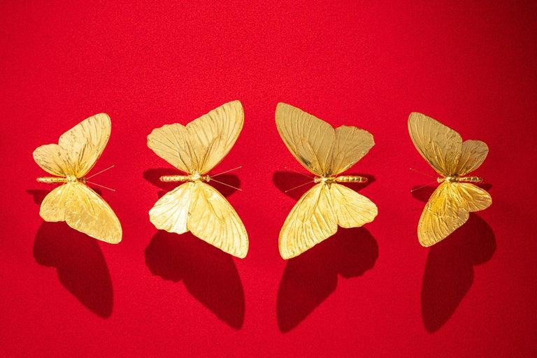 Metamorphosis Red II - 21st Century, Contemporary Figurative, Golden Butterflies For Sale 4