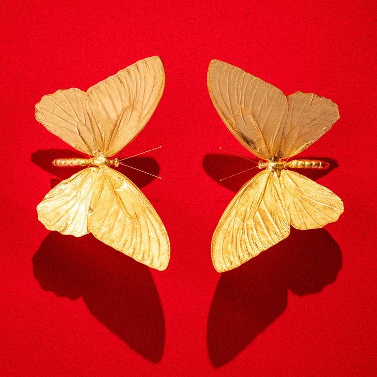 Metamorphosis Red II - 21st Century, Contemporary Figurative, Golden Butterflies For Sale 5