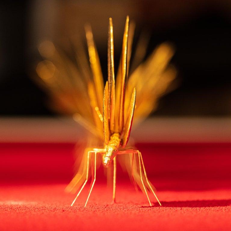 Metamorphosis Red II - 21st Century, Contemporary Figurative, Golden Butterflies For Sale 9