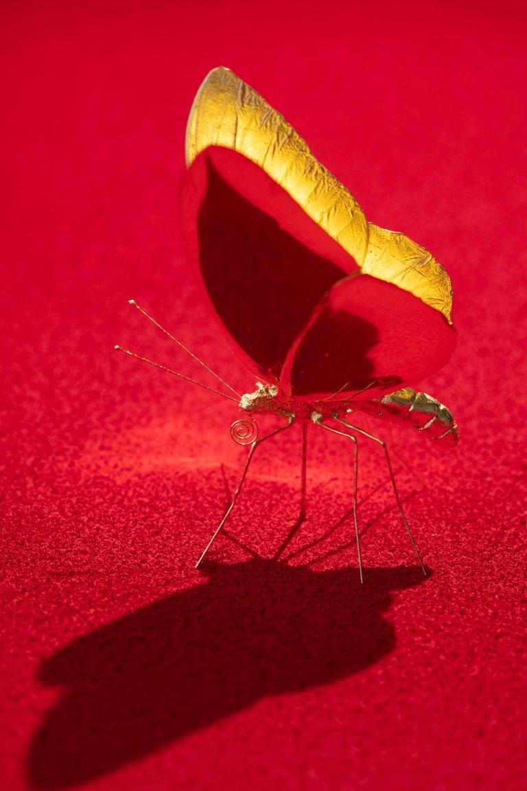 Metamorphosis Red II - 21st Century, Contemporary Figurative, Golden Butterflies For Sale 11