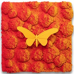 Vanish 03.07 - 21st Cent, Contemporary, Figurative, Yellow Butterfly, Orange Red