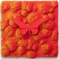 Vanish 03.08 - 21st Cent, Contemporary, Figurative, Red Butterfly, Yellow Orange