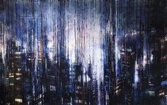 Megalopolis Lights - 21st Century, Contemporary, Landscape, Watercolor on Paper