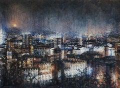 Barcelona 9pm - 21st Century, Contemporary, Landscape, Watercolor on Paper