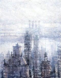 Downtown Blue - 21st Century, Contemporary, Landscape, Watercolor on Paper