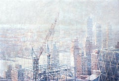 Hazy Morning over Hudson - 21st Cent, Contemporary, Landscape, Watercolor, Paper