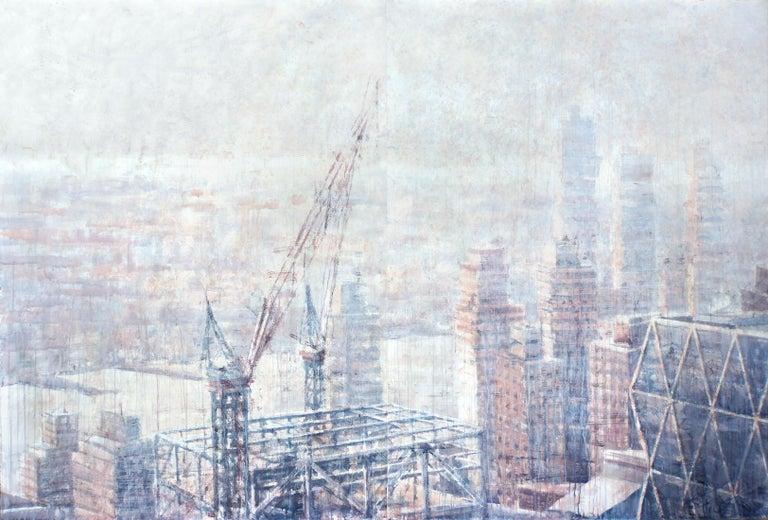 Ekaterina Smirnova Landscape Art - Hazy Morning over Hudson - 21st Cent, Contemporary, Landscape, Watercolor, Paper