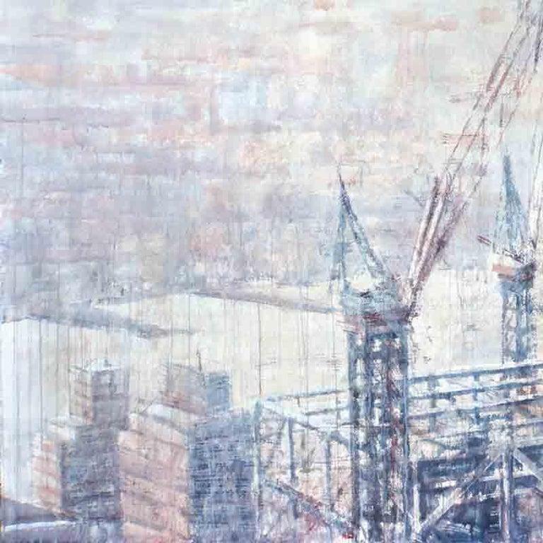 Hazy Morning over Hudson - 21st Cent, Contemporary, Landscape, Watercolor, Paper - Art by Ekaterina Smirnova