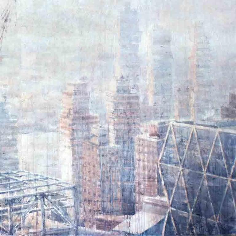 Hazy Morning over Hudson - 21st Cent, Contemporary, Landscape, Watercolor, Paper - Gray Landscape Art by Ekaterina Smirnova