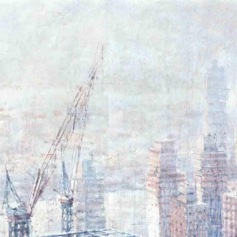 Hazy Morning over Hudson - 21st Cent, Contemporary, Landscape, Watercolor, Paper For Sale 1