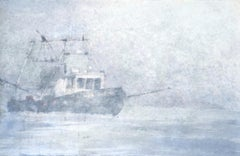 Lost In Fog - 21st Century, Contemporary, Seascape, Watercolor on Paper, Ship