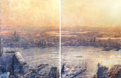 Hudson Diptych - 21st Century, Contemporary, Seascape, Watercolor on Paper