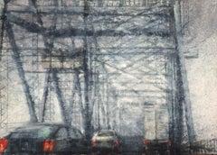 Rainy Way 5 - 21st Century, Contemporary, Landscape, Watercolor on Paper, Bridge