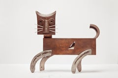 Gato De Bronce - 21st Century, Contemporary Sculpture, Figurative, Bronze, Cat