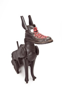 Perro Sentado - 21st Cent, Contemporary Sculpture, Figurative, Recycled Objects