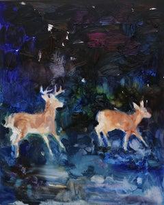 Velvet (kiss in the dark), Darlene Cole, Oil on Panel, Framed in White