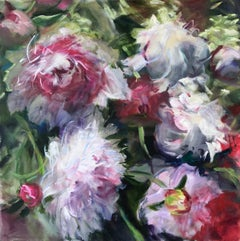 Peonies Baroque, Jamie Evrard, Oil on Canvas, Unframed
