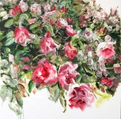Roses Falling, Jamie Evrard, Oil on Canvas, Unframed