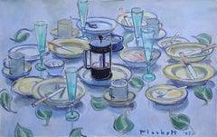 Lunch with White Wine, Joseph Plaskett, Oil on Canvas