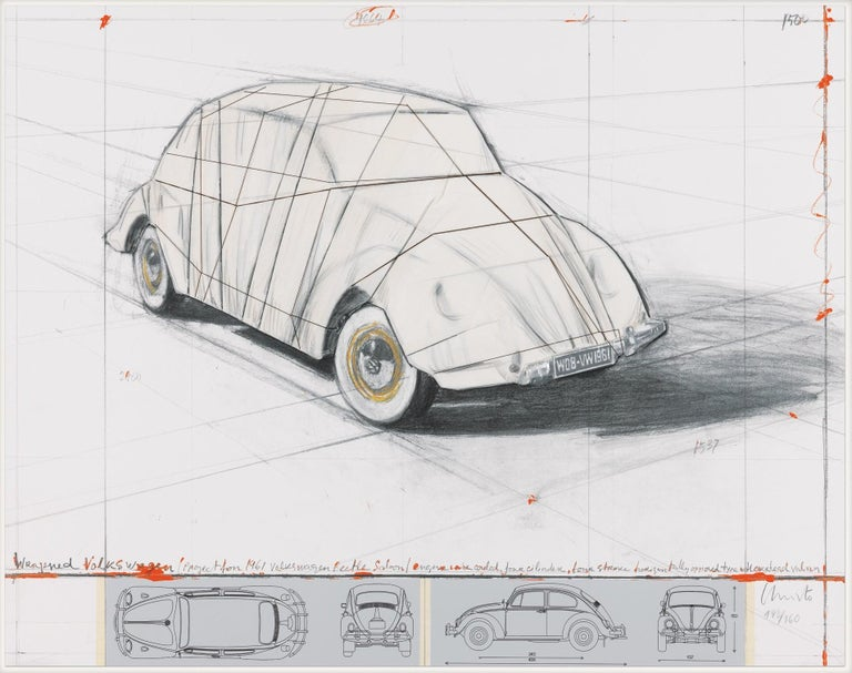 Wrapped Volkswagen (PROJECT FOR 1961 VOLKSWAGEN BEETLE SALOON) - Mixed Media Art by CHRISTO, JAVACHEFF