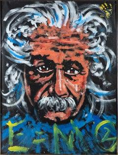 Denny Dent Albert Einstein Oil Painting 75x57, Street Art signed memorabilia
