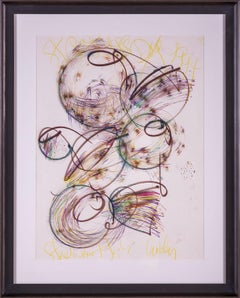 Dale Chihuly Orig Painting Drawing St Patricks Day Baskets w/COA Signed Titled
