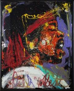 "Denny Dent Jimmy Hendrix Oil on Paper Original Painting Massive 71.5x58.5"""