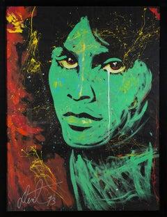 "Denny Dent Jim Morrison Oil on Paper Orig Painting Massive 74.75 x 69.75"" Rare"