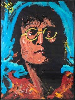 """Denny Dent John Lennon Oil on Paper Orig Painting Massive 75 x 58"""" Famed Rare"""
