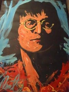 Denny Dent John Lennon 92 Original Painting Museum Quality Beatles 53x69 Signed