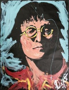 Denny Dent John Lennon Portrait Acrylic on Paper Authentic Painting