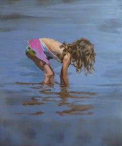 Blue, girl in the water- 21 st Century, Contemporary painting by Mitzy Renooy