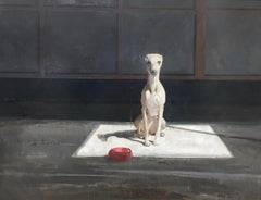 Dog in the light, 21st Century Contemporary Painting of a dog by Pieter Pander