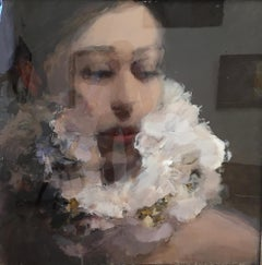 Soft, 21st Century portrait painting, Acrylic & Epoxy layers by Anne-Rixt Kuik