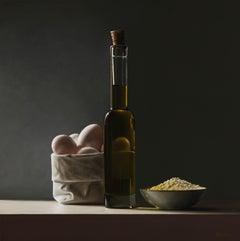 Egs, Olive Oil- 21 st Century Contemporary Still- life Painting, Heidi von Faber